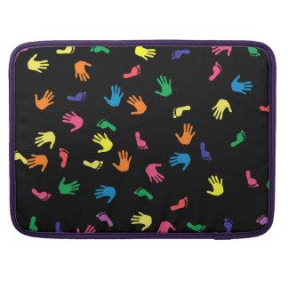 Handprint footprint multicolored MacBook pro sleeve