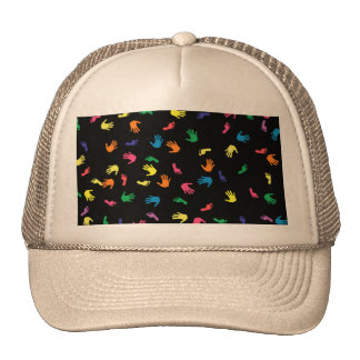 Handprint footprint multicolored trucker hat