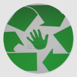 Handprint reciclado etiquetas redondas