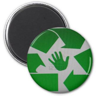 Handprint reciclado imán redondo 5 cm