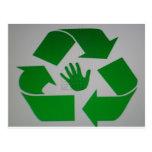 Handprint reciclado postal