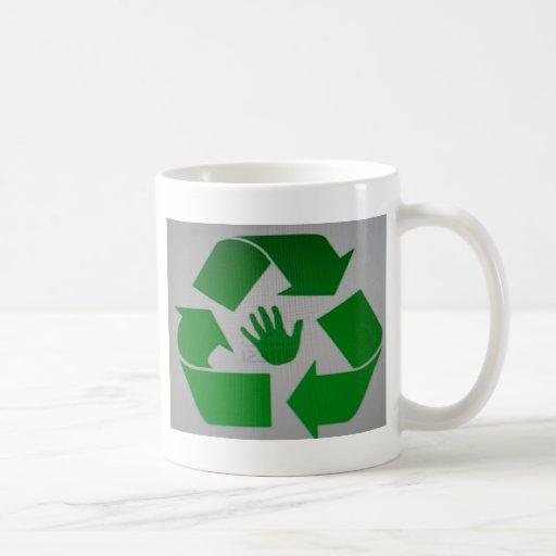 Handprint reciclado tazas de café