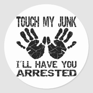 Handprint Touch My Junk I ll Have You Arrested Sticker