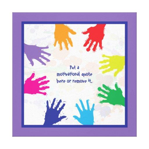 Handprints coloridos de los niños - azules y front impresión en lona estirada