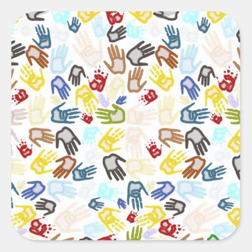 Handprints de neón en espacio en blanco (añada el pegatina cuadrada