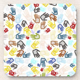 Handprints de neón en espacio en blanco (añada el  posavasos