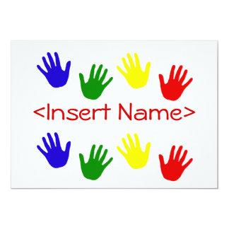 Handprints 5x7 Paper Invitation Card