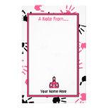 Handprints rosado y negro de los efectos de papeleria personalizada