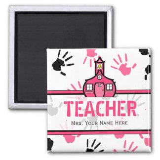 Handprints rosado y negro del imán del profesor -