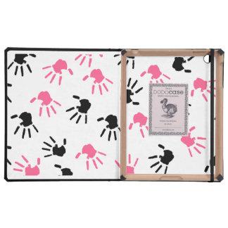 Handprints rosado y negro DODOcase para el iPad