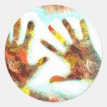 Handprints Round Sticker