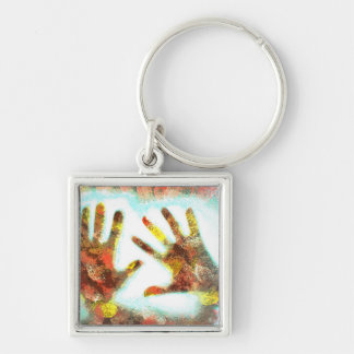 Handprints Silver-Colored Square Keychain