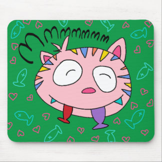Handrawn Kitty Love Fish Mousepad