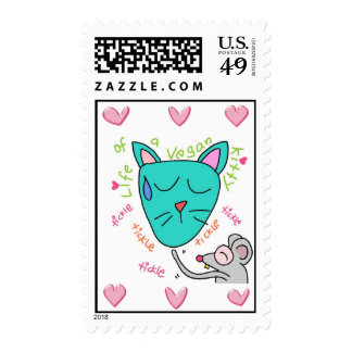 Handrawn Life of a Vegan Kitty Postage