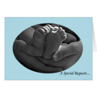 Hands and Baby Feet Boy's Godparent Request Card