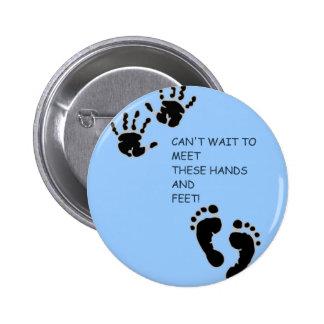 Hands and Feet Blue Button