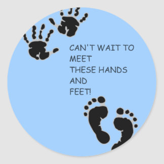 Hands and Feet Blue Classic Round Sticker