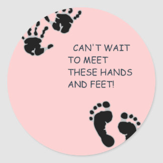 Hands and Feet Pink Classic Round Sticker