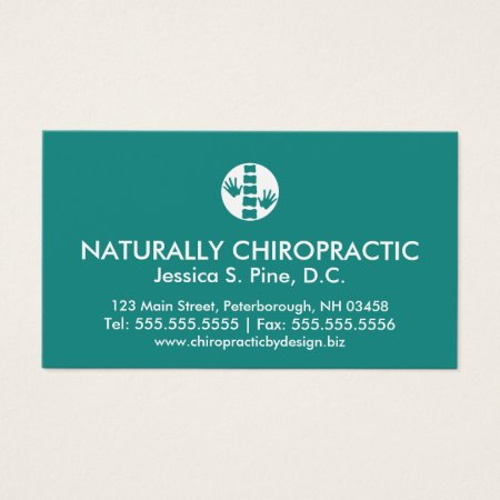 Hands and Spine Logo Teal Modern Chiropractor Business Card