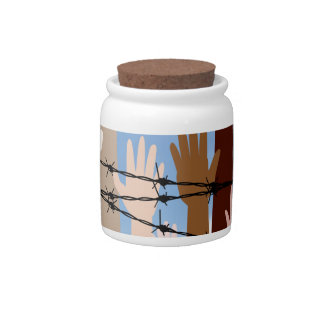 Hands Behind a Barbed Wire Candy Jars