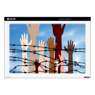 Hands Behind a Barbed Wire Decals For Laptops