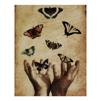 Hands Butterflies Artwork Poster