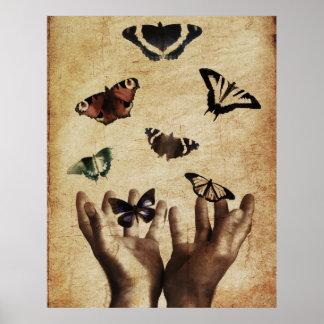 Hands Butterflies Artwork Poster
