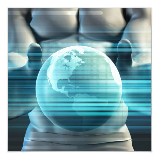 Hands Cradling Globe as a Business Technology Card