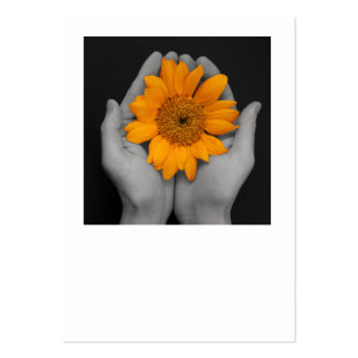 hands cupping sunflower large business card