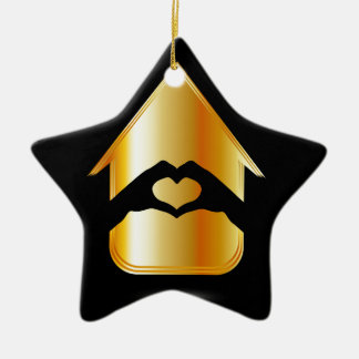 Hands forming a heart in a house Double-Sided star ceramic christmas ornament