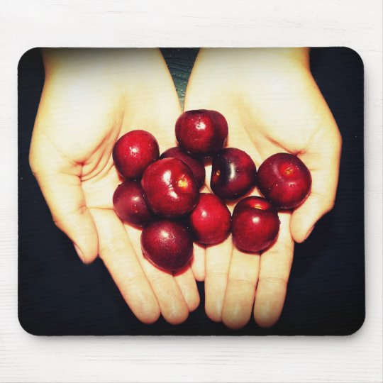 Hands Full of Delicious Sweet Cherries Mouse Pad