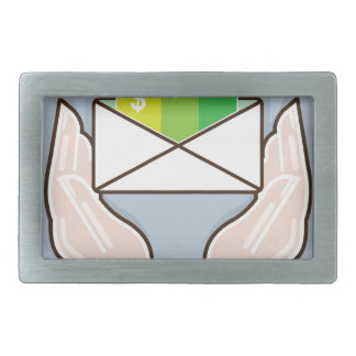 Hands giving receiving checks inside an envelope belt buckle