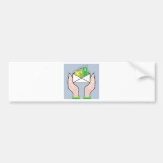 Hands giving receiving checks inside an envelope bumper sticker