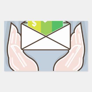 Hands giving receiving checks inside an envelope rectangular sticker