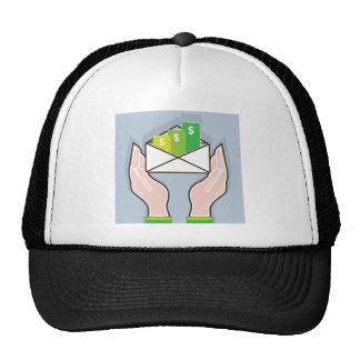 Hands giving receiving checks inside an envelope trucker hat