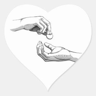 Hands Giving & Receiving Money Heart Sticker