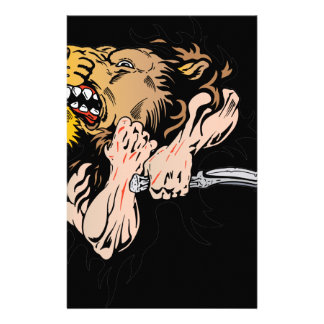 Hands Grabbing Lion Stationery