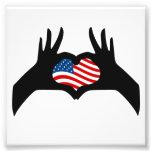 Hands Heart Symbol United States American Flag Photo Print