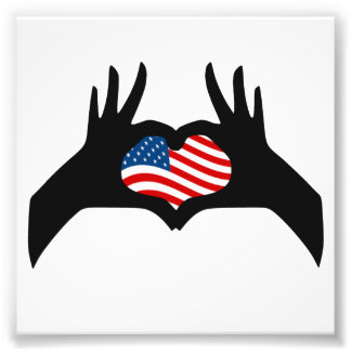 Hands Heart Symbol United States American Flag Photographic Print