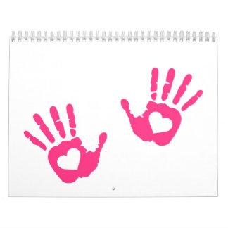 Hands hearts wall calendar