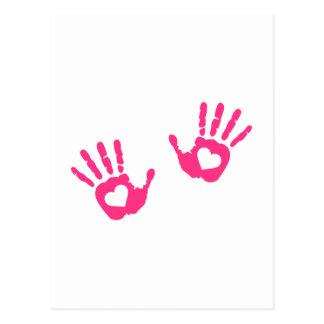 Hands hearts postcard