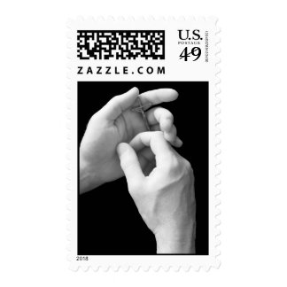 Hands Holding Crucifix Postage