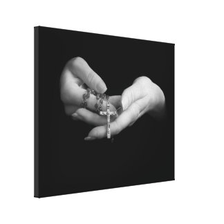 Hands Holding Rosary Canvas Print