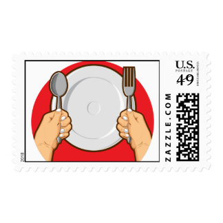 Hands Holding Spoon & Fork Postage