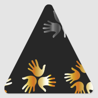 hands in gold and silver triangle sticker