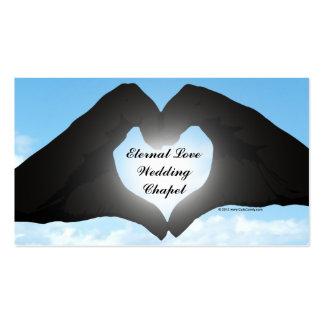 Hands in Heart Shape Silhouette on Blue Sky Business Card