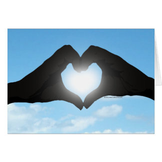 Hands in Heart Shape Silhouette on Blue Sky Greeting Card
