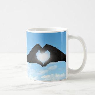 Hands in Heart Shape Silhouette on Blue Sky Classic White Coffee Mug