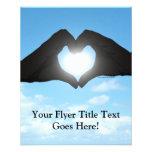 Hands in Heart Shape Silhouette on Blue Sky Custom Flyer