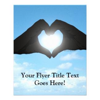 """Hands in Heart Shape Silhouette on Blue Sky 4.5"""" X 5.6"""" Flyer"""